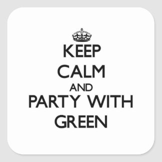 Keep calm and Party with Green Square Sticker