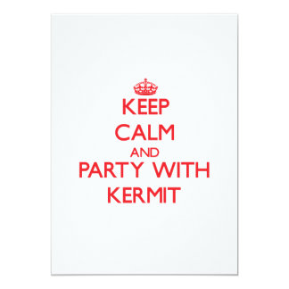 "Keep calm and Party with Kermit 5"" X 7"" Invitation Card"