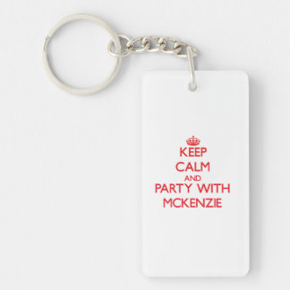Keep calm and Party with Mckenzie Double-Sided Rectangular Acrylic Key Ring
