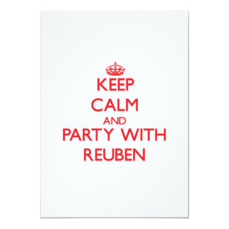 """Keep calm and Party with Reuben 5"""" X 7"""" Invitation Card"""