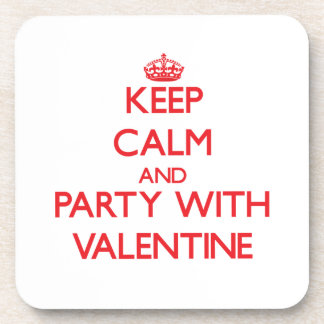 Keep calm and Party with Valentine Beverage Coasters
