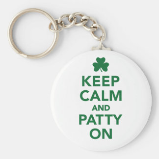 Keep calm and patty on basic round button key ring