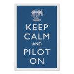 Keep Calm and Pilot On Steampunk Dirigible - Blue Print