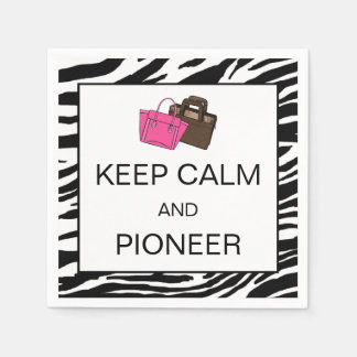 """KEEP CALM AND PIONEER"" PAPER SERVIETTES"