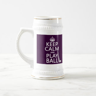 Keep Calm and Play Ball (baseball) (any color) Beer Stein
