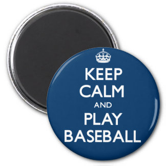 Keep Calm and Play Baseball (Carry On) 6 Cm Round Magnet