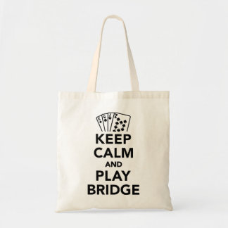 Keep calm and play bridge budget tote bag
