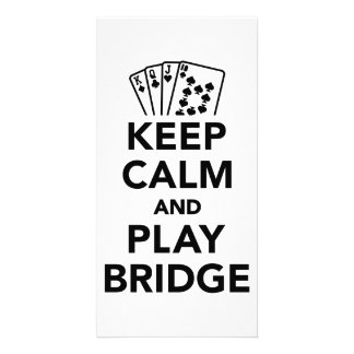 Keep calm and play bridge personalized photo card
