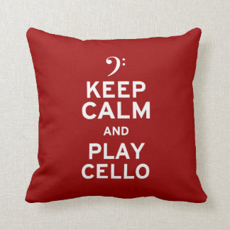 Keep Calm and Play Cello Throw Pillow