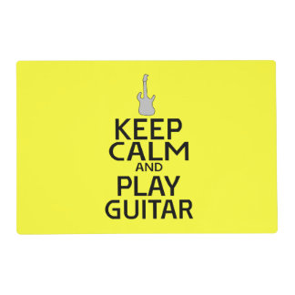 Keep Calm and Play Electric Guitar - on Yellow Laminated Place Mat