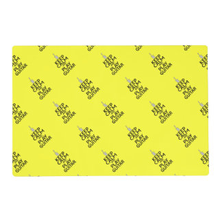 Keep Calm and Play Electric Guitar - on Yellow Laminated Placemat