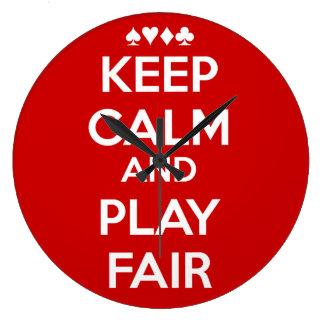 Keep Calm And Play Fair Large Clock
