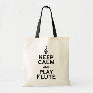 Keep Calm and Play Flute Tote Bags