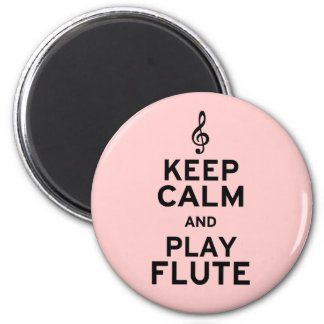 Keep Calm and Play Flute 6 Cm Round Magnet