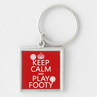 Keep Calm and Play Footy (football) (any colour) Key Chains