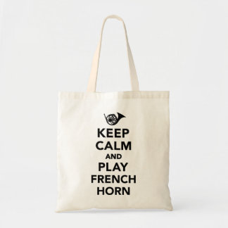 Keep calm and play french horn tote bag