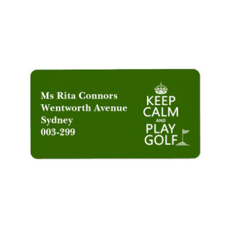 Keep Calm and Play Golf - all colors Label