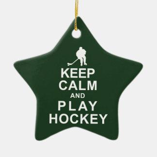 Keep Calm and Play Hockey Ceramic Star Decoration