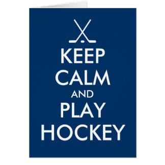 Keep calm and play hockey greeting card