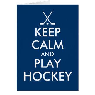Keep calm and play hockey greeting card
