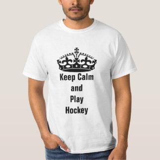 Keep calm and play hockey tee shirts