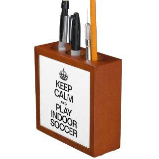KEEP CALM AND PLAY INDOOR SOCCER DESK ORGANISER