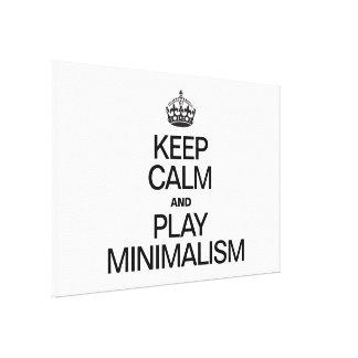 KEEP CALM AND PLAY MINIMALISM CANVAS PRINT
