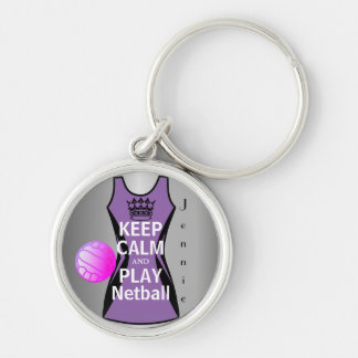 Keep Calm and Play Netball Design Silver-Colored Round Key Ring