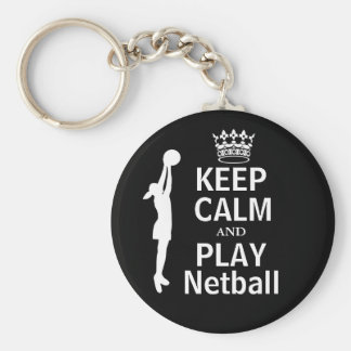 Keep Calm and Play Netball Theme Key Ring