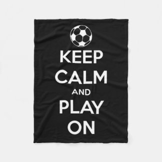 Keep Calm and Play On Black and White Fleece Blanket