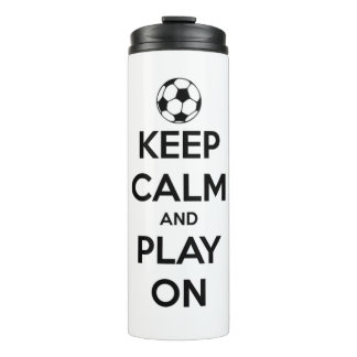 Keep Calm and Play On Black and White Personalized Thermal Tumbler