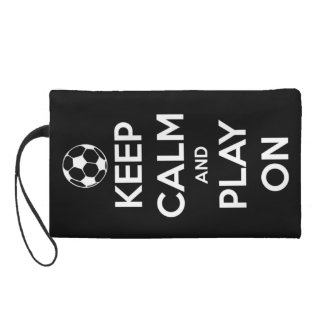 Keep Calm and Play On Black Wristlet