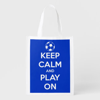 Keep Calm and Play On Blue and White Soccer