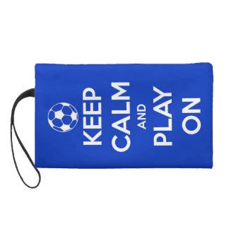 Keep Calm and Play On Blue Wristlet Purses