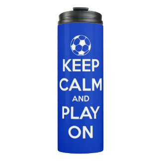 Keep Calm and Play On Blue Personalized Thermal Tumbler