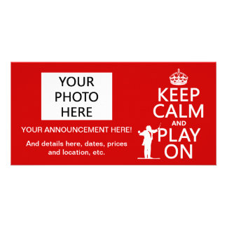 Keep Calm and Play On (conductor)(any color) Customised Photo Card