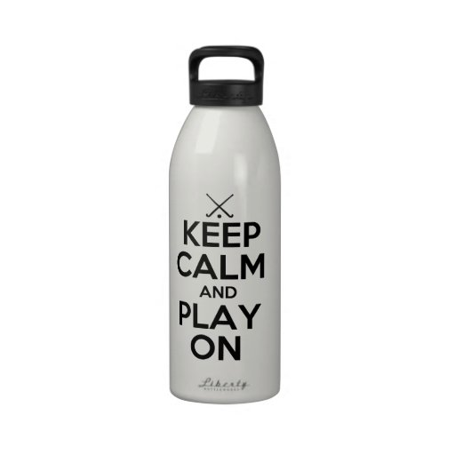 Keep Calm and Play On - Field Hockey Drinking Bottle