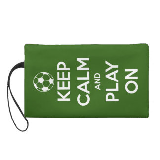 Keep Calm and Play On Green Wristlet Purse