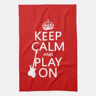 Keep Calm and Play On (guitar)(any colour) Tea Towel