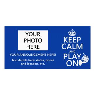 Keep Calm and Play On (horn)(any background color) Custom Photo Card