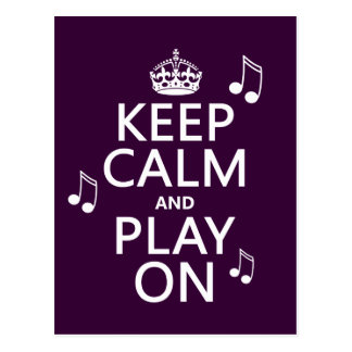 Keep Calm and Play on - music notes - all colours Postcard