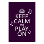 Keep Calm and Play on - music notes - all colours Poster