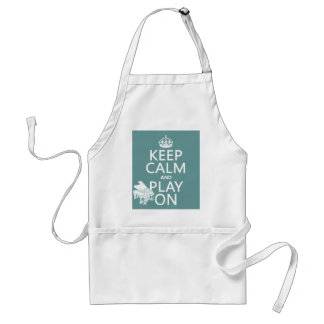 Keep Calm and Play On (Piano)(any background color Standard Apron