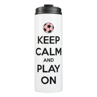 Keep Calm and Play On Pink and Black Personalized Thermal Tumbler