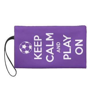 Keep Calm and Play On Purple Wristlet Clutch