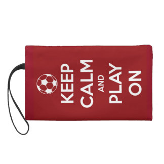 Keep Calm and Play On Red Wristlets