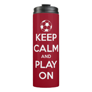 Keep Calm and Play On Red Personalized Thermal Tumbler