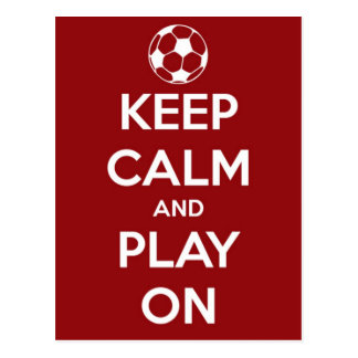 Keep Calm and Play On Red Postcard
