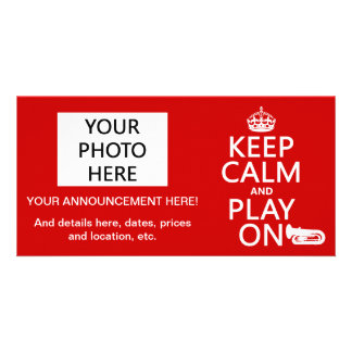 Keep Calm and Play On (tuba)(any background color) Photo Cards