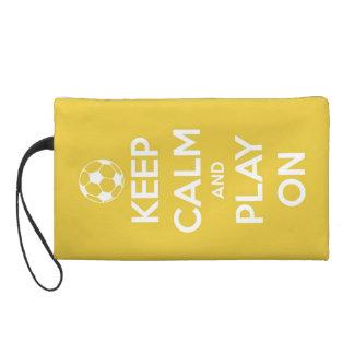 Keep Calm and Play On Yellow Wristlets